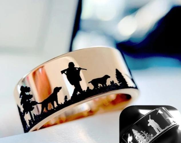 Outdoors Hunting Scene Mens Wedding Rings Bands for Hunters Deer Birds –  thenordictradingco.com