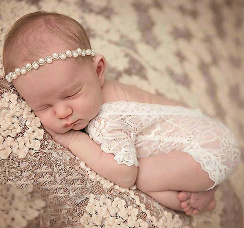 New Vintage Ivory Lace Bodysuit Newborn Girl's First Photo Gift Set Sweet & Elegant Photo Shoot Prop One Size NB