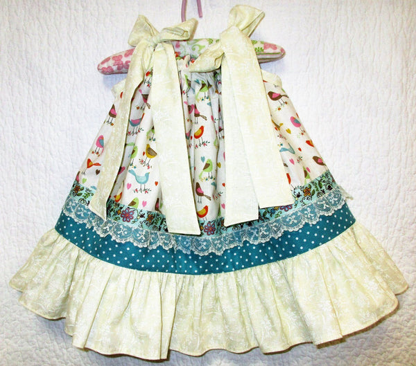 Darling Handmade Pillow Case Baby Girl's Layered Easter Dress Big Bows Little Bird Pattern Ruffled Hem 12/18mo Infant Toddler Spring Summer Dress Frock
