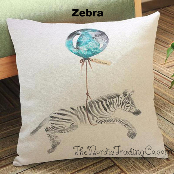 Watercolor Animals Throw Pillow Cover Up Up and Away ! Baby Elephant Zebra Koala Zoo Theme Home Kids Room Nursery Decor Boy Girl