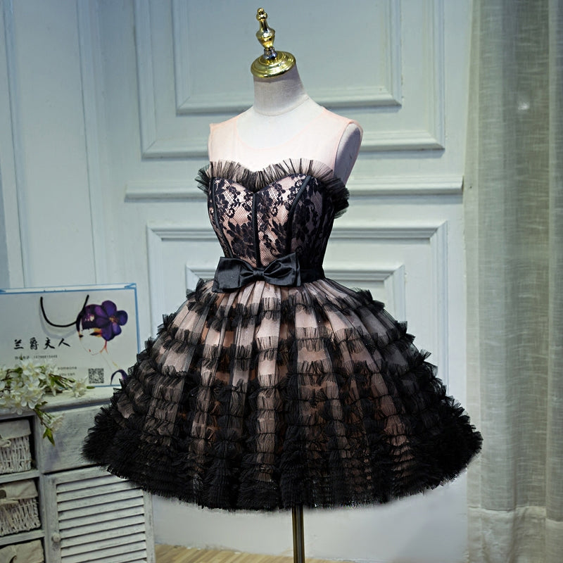 Parisian Princess Prom Quinceanera Pink and Black Formal Tulle Lace Short Dress Juniors Girls