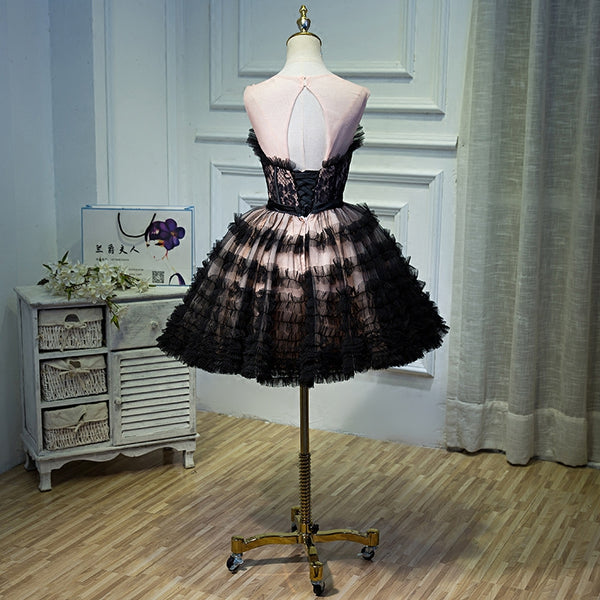 Refined Elegance Vintage Paris Inspired Black Pink Quinceanera Special Occasion Dress Women's Juniors Girl's Cocktail Length Dresses Custom Made