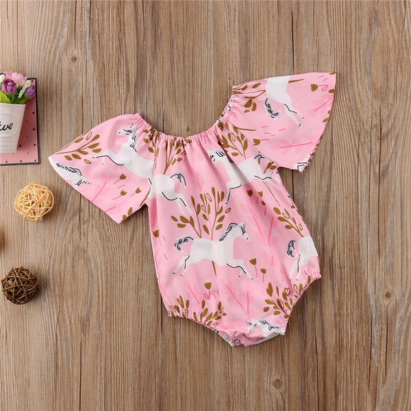 Pink Boho Unicorn Baby Girl Romper Headband Set Infant Girl Clothing Newborn Girl's Rompers Hair Bow Gift Sets Baby Shower Gift Ideas Clothes