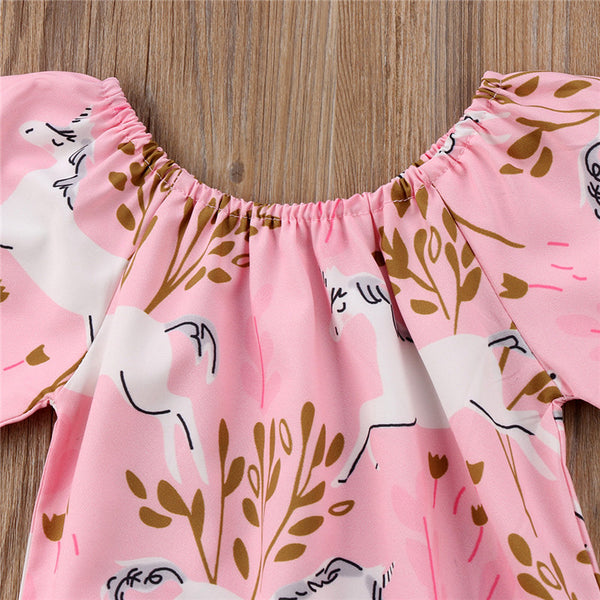 Baby Girls Pink Unicorn Boho One Piece Romper Baby Girl Set Clothing Gift Ideas First Birthday Unicorn Clothes