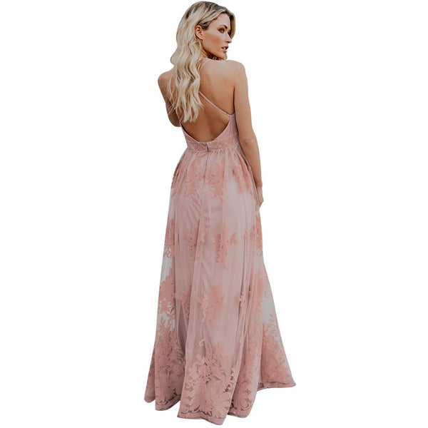 Blush Pink All Over Lace Beach Wedding Dress Deep V Halter Style Top Long Maxi Length Beach Dresses Womens Clothing Resort Wear