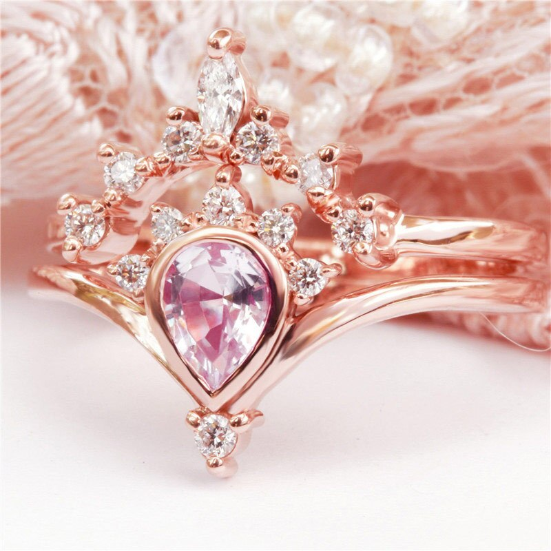 Dainty Pink Sapphire Crowned Teardrop Rose Gold Engagement Anniversary Ring Jewelry Women