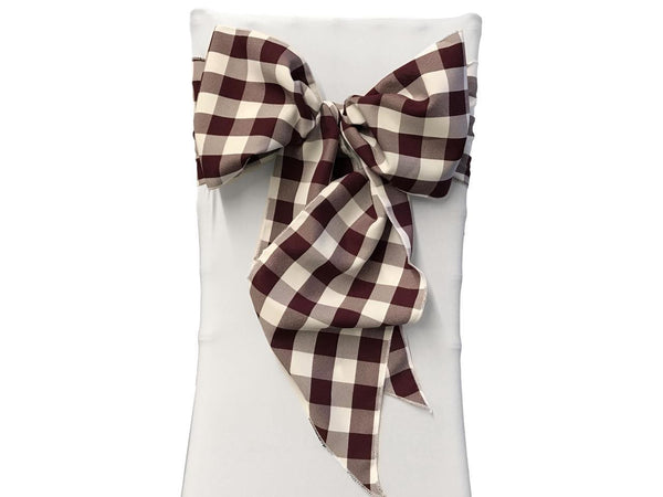 Gingham Check Chair Bows Wedding Decor Colors Galore Venue Home Holiday Party Decorations Reception Seating Church Pew Bleacher Seats Chairs Plaid Bow