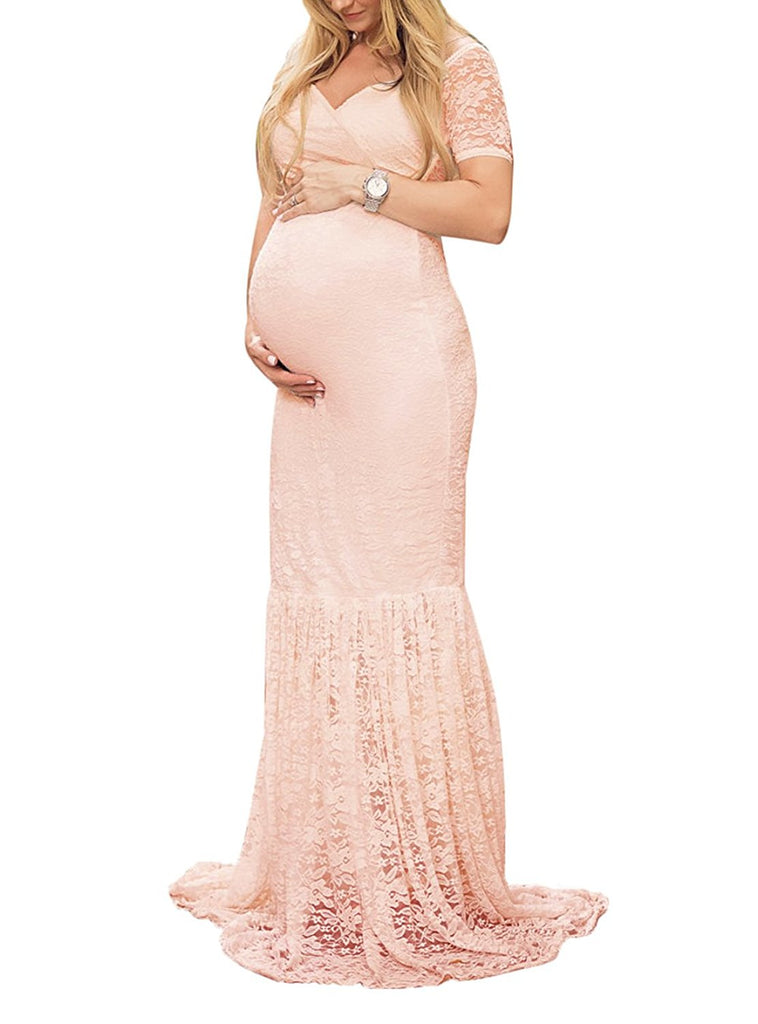 Oh Baby New All Lace Pregnancy Dress Gown Baby Bump Maternity Photo ...