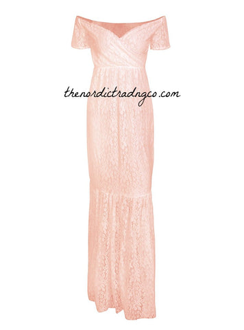 f5278f16fd Oh Baby All Lace Maternity Mermaid Gowns Baby Bump Photo Shoot Peach Pink  Beige Blue Maxi