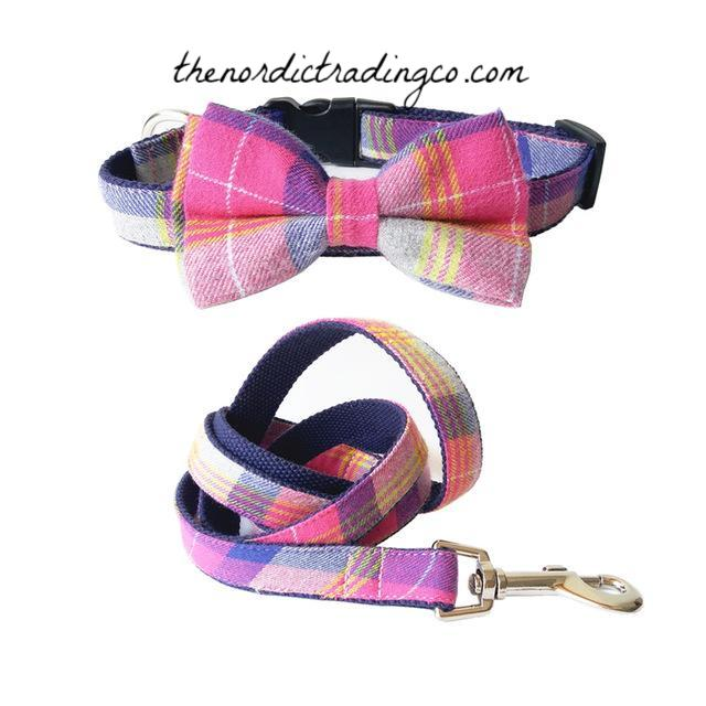 Preppy Pink Plaid Boutique Dog Collar Leash Set Bow Tie Medium Size Dogs Puppy Pet Gear Gifts
