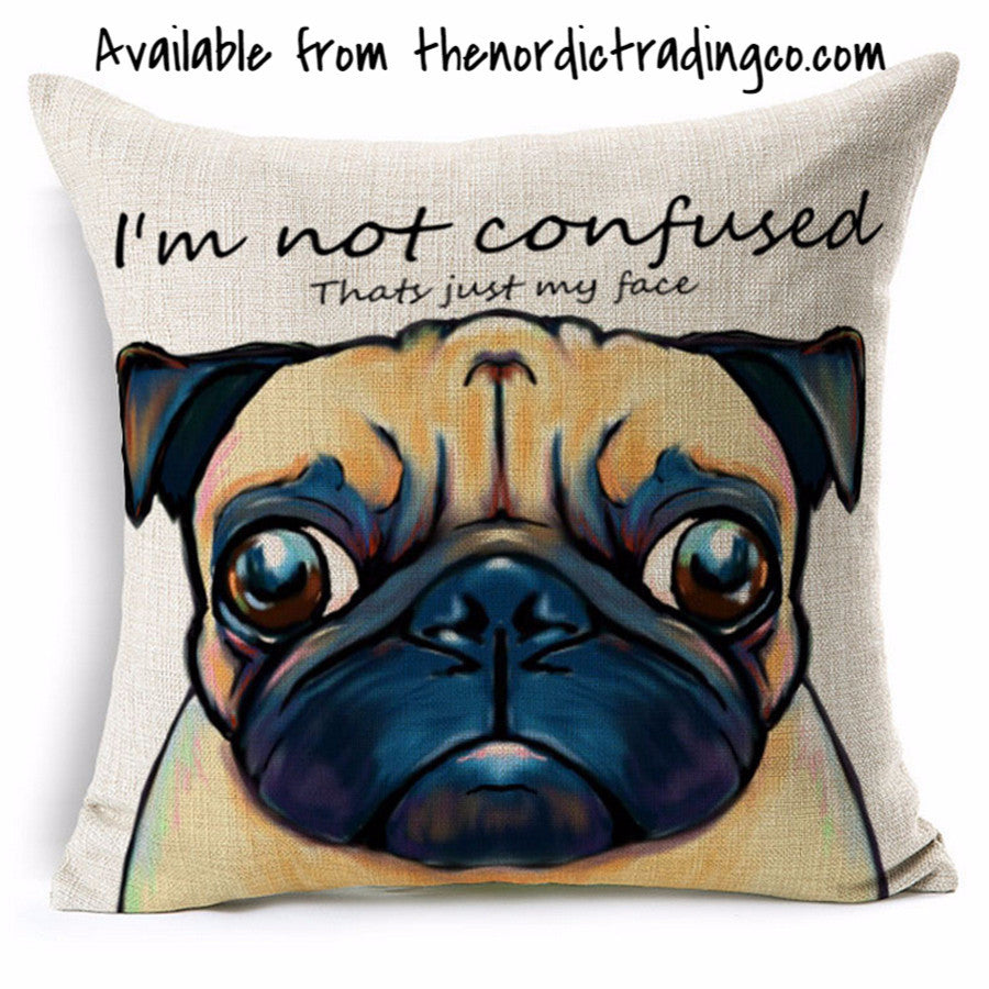 "Pug Pillow Cushion Cover 17x17"" Home Pug's Life Nordic Decor Living Room Bedroom Dog House Linen Blend"