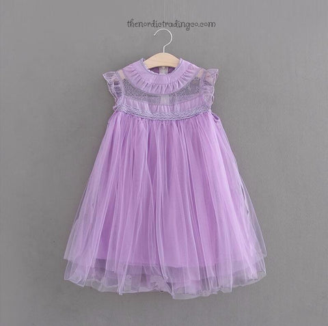 2017 Haute Couture Toddler and Little Girl's Dresses Lilac Lavender Ruffle Accented Lightly Smocked A Line Dress Flower Girl Easter Spring Portraits sz 2T - 6 Children's Clothes Apparel Flower Girl