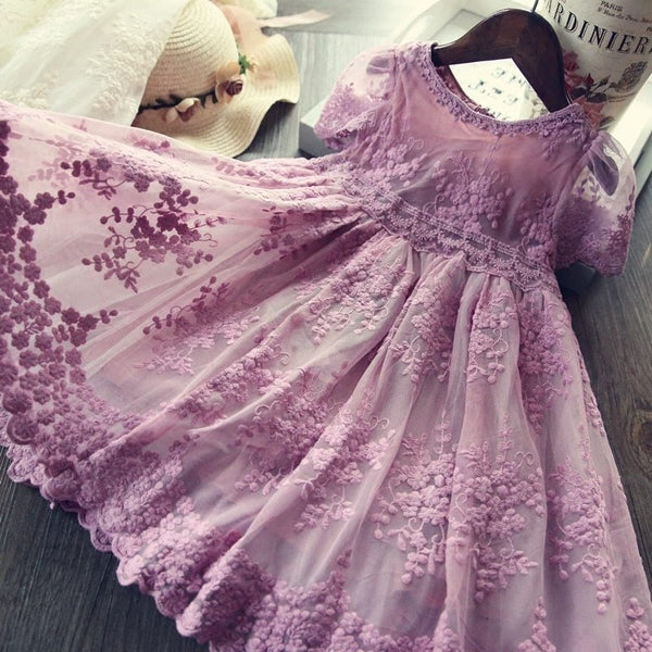 Fairy Tale Lavender Lace Flower Girl Dresses Baby Toddlers to Big Girls Purple Pink Antique White Flower Girl Dress sz 2 - 6X Girl's Weddings Birthday Party