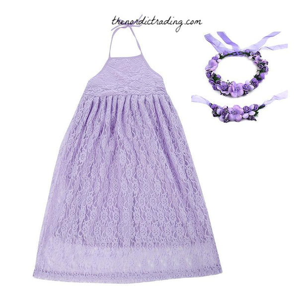 Lace Maxi Flower Girl Dresses including Boho Flower Head Crown & Sash Pink Lavender Red Girl's Dress Girls 24mo to 8 Wedding Clothing Attire