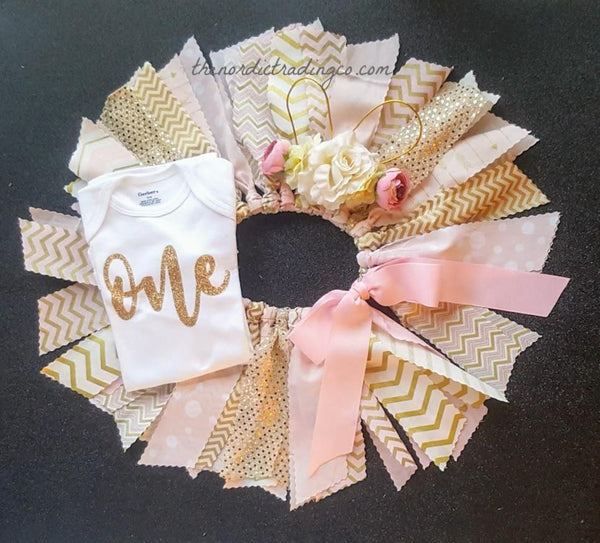 Pink Gold Chevron Scrap Twirly Skirt Gold Embossed Gerber LS Onesie Bodysuit Shabby Floral Bunny Ears Headband First Birthday Set Easter Sets Cake Smash
