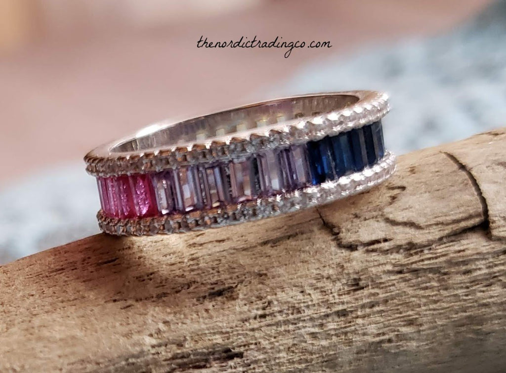 Women's Wedding Engagement Ring Rainbow Colored CZ Baguettes Surrounded In Sterling Silver Twinkling CZ's Bride Rings Women Pride Hers Jewelry Rings Gifts