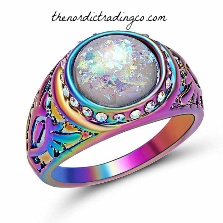 Gorgeous Rainbow Anodized Women's Stainless Steel Moonstone Galaxy Opal Ring Jewelry Accessories Ladies Pair Rings 2 Brides