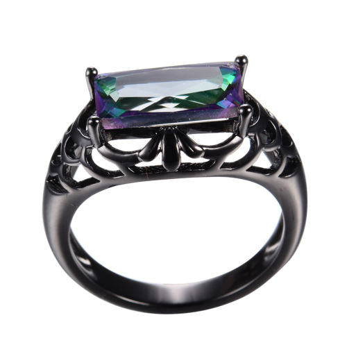 Enchanting Rectangular Rainbow Mystic Topaz Ring in Black Gold Plated Deco Setting Women's Rings Gifts Jewelry Christmas Anniversary Sz. 7, 8, 9
