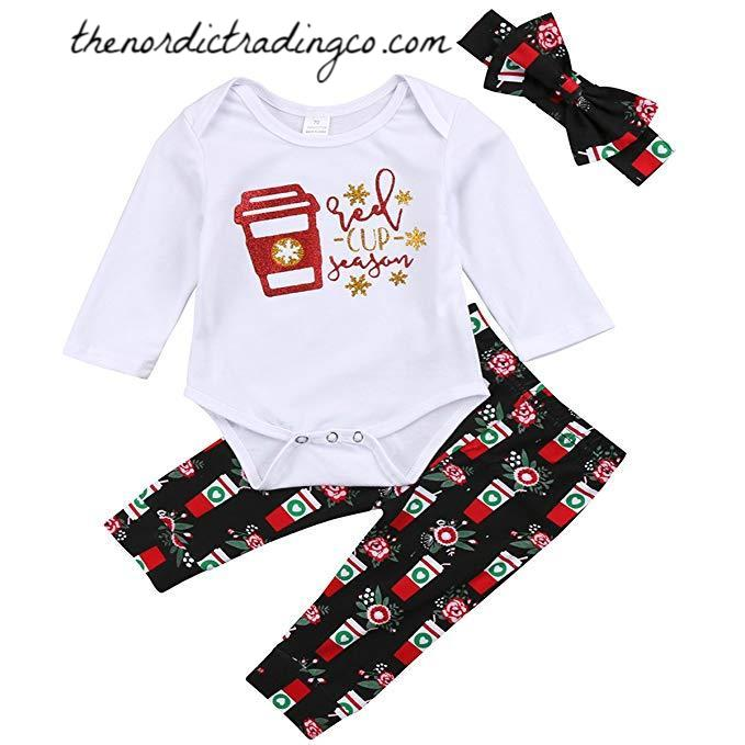 Christmas Baby Girl's It's Red Cup Season Outfit Top Pants Headband Starbucks Coffee Cups Inspired Baby Shower Gift Holiday Girls Outfits Newborn Girl Clothes Gifts