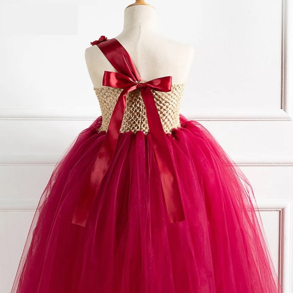 Crimson Red Glittering Gold Flower Girls Dress Gowns Wedding Jr Bridesmaid Dresses Christmas Gowns Children's Kids Photography
