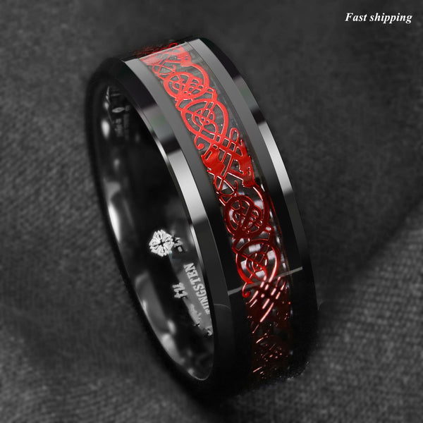 Celtic Scroll Thin Red Line Mens Wedding Ring Firefighters Emergency Ai Thenordictradingco Com