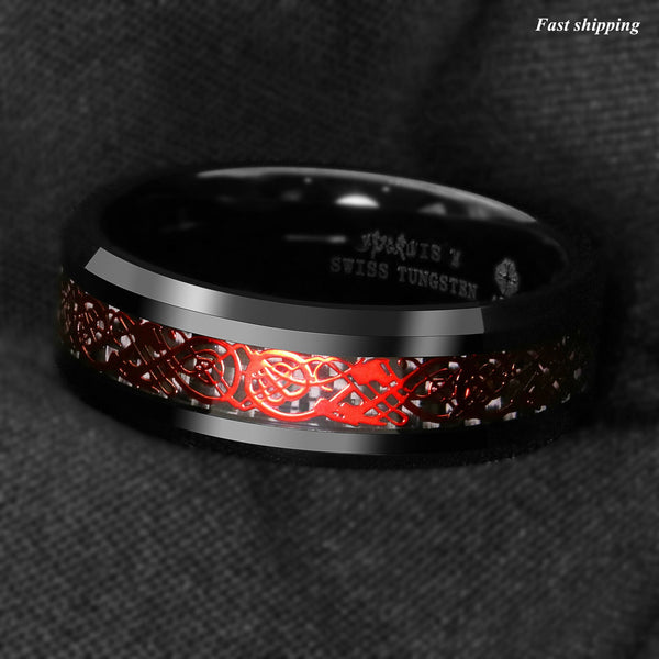 Celtic Scroll Thin Red Line Mens Wedding Ring Firefighters Emergency AId First Responders Paramedic Christmas Birthday Anniversary Gifts