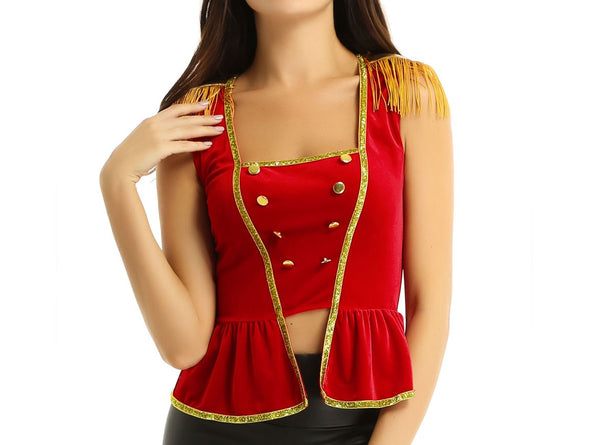 Womens Ringmaster Costume Shirt Top M L XL Greatest Showman Circus Costumes