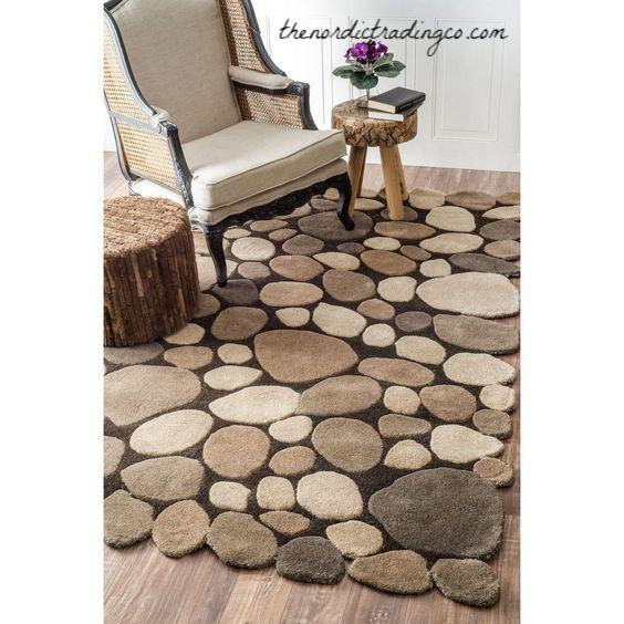 3D River Rocks Area Rug Perfect for Woodlands Decor / Forest Baby Kids Play Room Children's Room Soft Smooth Faux Stones Nordic Home Interior Designs Cottage Lodge Rustic Rock Lake Woodlands Boy's Rooms