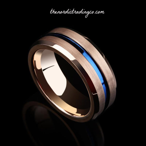 Thin Blue Line Men's Tribute Ring Police Officer Sheriff Corrections State Trooper Tungsten Carbide Engravable Inside Wedding Band Father's Day Gift Jewelry Him