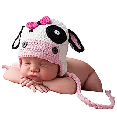 New to the Herd Newborn Girl Crochet Cow Hat Flowers and Tassels
