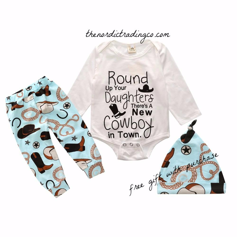 Round Up Your Daughters There's A New Cowboy In Town Blue Newborn Baby Boy Romper Pants Hat Shower Gift Sets Kids Outfits Infant