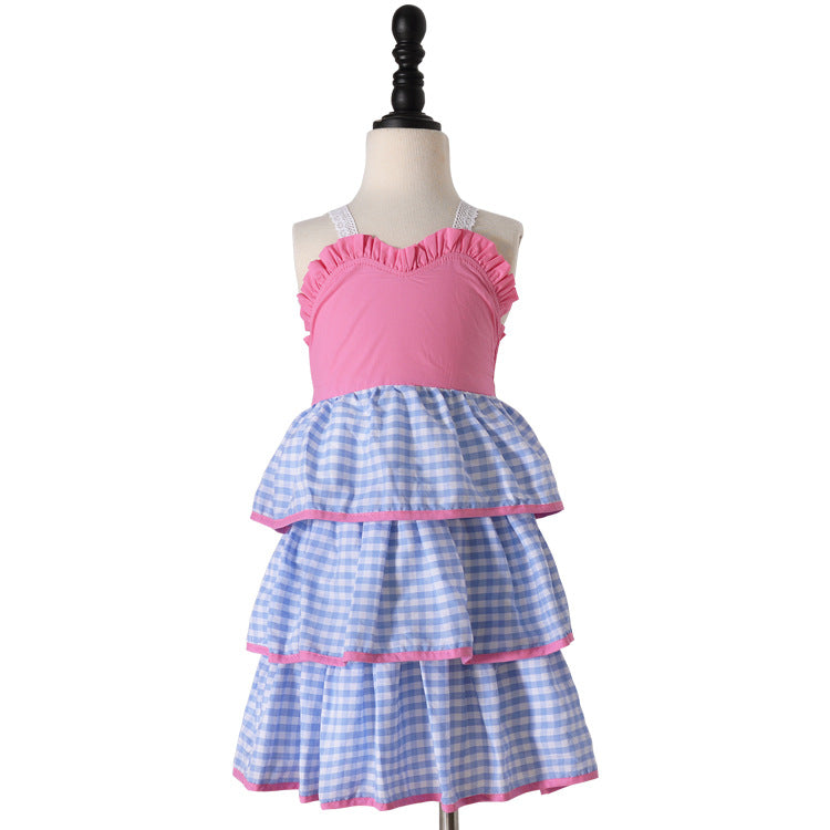 Girls Stacked Ruffle Dress Blue Gingham Check Pink Top Maxi Dresses Toddlers Kids Easter