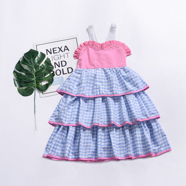 Blue Gingham Check Girls Dress Beach Flower Girl Photography Easter Party Dresses