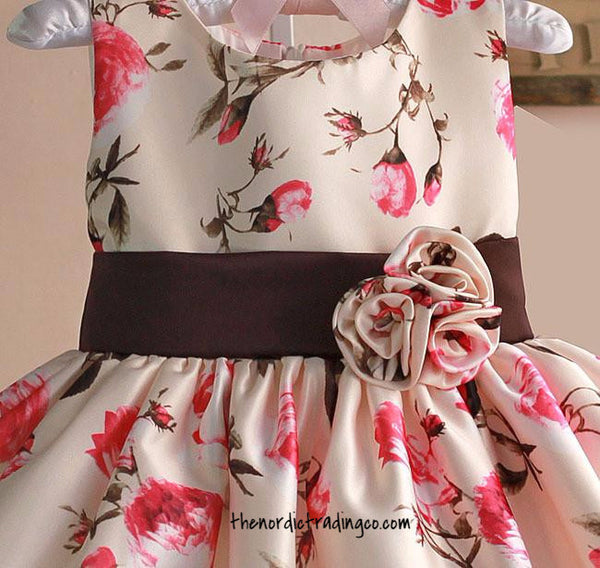 Rustic Dusty Rose Girl's Silk Flower Girls Dress Special Occasion  sz 2T - 6 Children's Clothing Floral Dresses Toddler Girls Wedding Flower Girl Pink Cream Brown