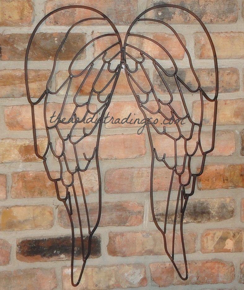 Rusty Wrought Iron Angel Wings Wall Hanging Art Rustic Farmhouse Country Living Home Decor