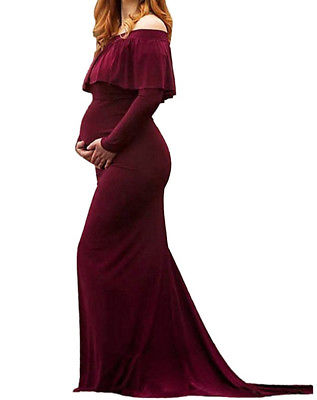 Maternity Photo Shoot Dress Gowns Fall Winter Christmas Burgundy Dusty Blue Pregnancy Dresses Photoshoot Baby Bump Photography Maxi Dress Baby Shower Gifts Plus Sizes