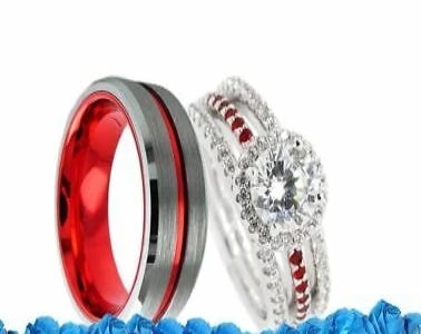 Thin Red Line Firefighter Couples Wedding 4 Ring Set Women's Bridal Set Rings Set Men's Silver w/ Red Groove Tungsten Band Fire Fighter Rings Fire USA