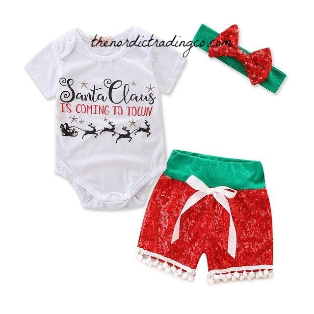 Baby Girl Christmas Sets Santa Clause Is Coming To Town Romper Onesie Girl's Sequin Pom Pom Shorts Glitter Headband Set Newborn Holiday Clothing