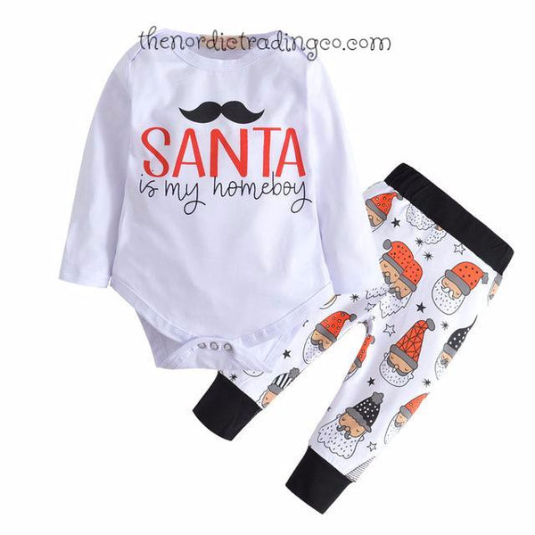 Santa Is My Homeboy Nordic Christmas Baby Boy Set Infant 0/3 mo.