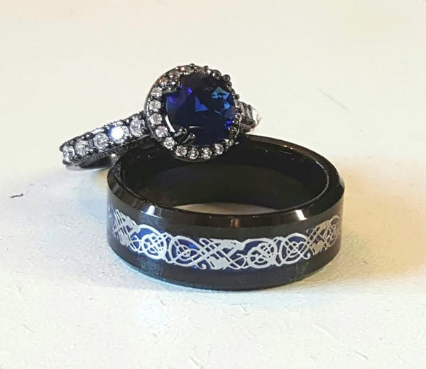 sz 6 - 13 New 2016 Dramatic Black Tungsten Carbide with Blue Celtic Dragon Inlay Women's Wedding Ring Black Gold Filled with Sapphire Blue CZ Multiple Sizes Wedding Couples His Hers Ring Sets Engagement Ring