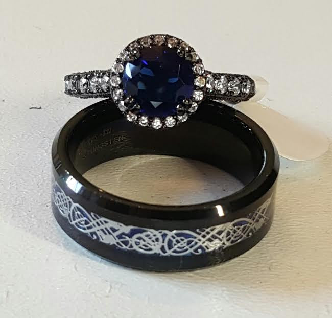 Sz 6 13 New 2016 Dramatic Black Tungsten Carbide With Blue Celtic