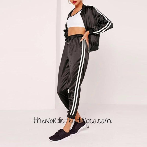 Black Satin Women's Track Pants