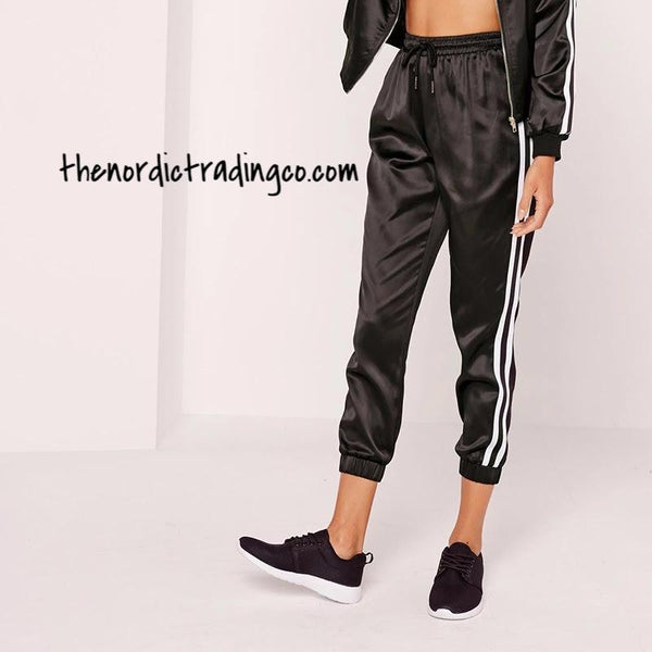 Women's Black Satin Track Jogger Pants Elastic Waist White Stripe Cropped Length Chic Fashion Casual Couture Dressy L XL