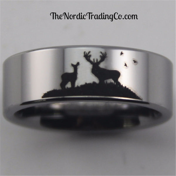 Scenic Deer & Doe Hunting Tungsten Carbide Men's Wedding Band Ring 8mm Hunter Hunt Outdoorsman Mens Jewelry