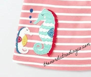 Baby Girl Peach Sorbet Jersey Summer Dress Seahorse Applique Toddler Girl's 2T 3T 4T Clothing Ocean Theme Girl Dresses Outfits