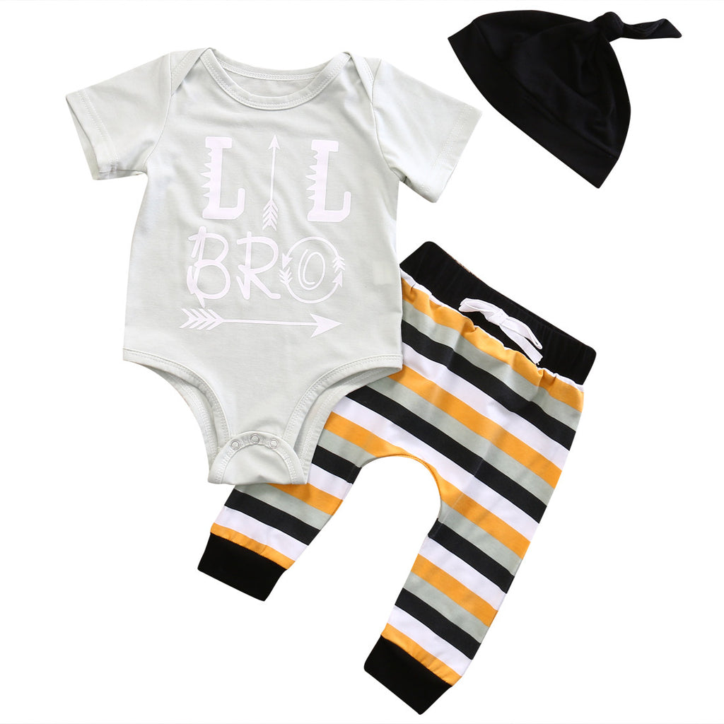 Lil Bro Newborn Boy 3 PC Set Onesie Beanie Hat Long Pant 0-3mo Boy's Baby Shower Gifts Infant Kids Children's Clothes Accessories USA