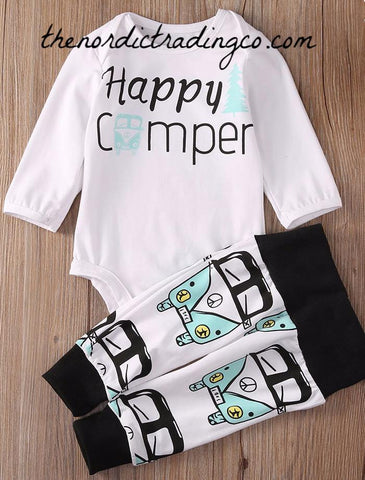 Happy Camper New Baby Boy Gift Set VW Retro Van Top Bottoms Infant Baby Shower Boys Clothing Apparel USA Shipping 0/6 mo Camping Bus Boy's