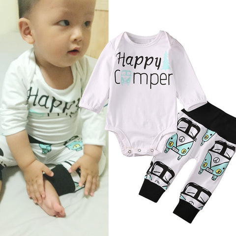 """ Happy Camper "" New Baby Boy Gift Set VW Retro Van Top Tee Pee Pants & Beanie Infant Baby Shower Gifts Boy's Clothing Apparel USA Shipping"