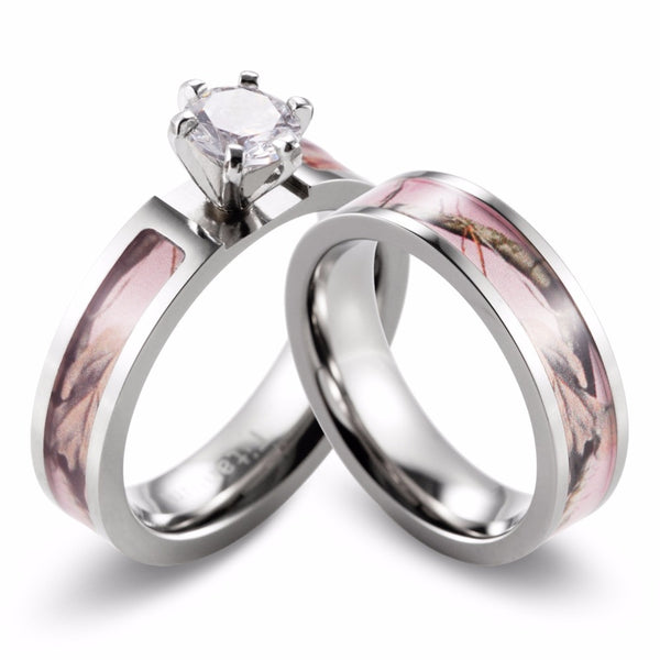 Titanium Women's Soft Pink Camo 2pc Wedding Set 4 Prong CZ Engagement Ring & Bridal Band sz 5 - 10