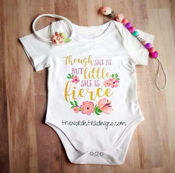 Though She Be But Little She Is Fierce Infant Onesie Gift Set